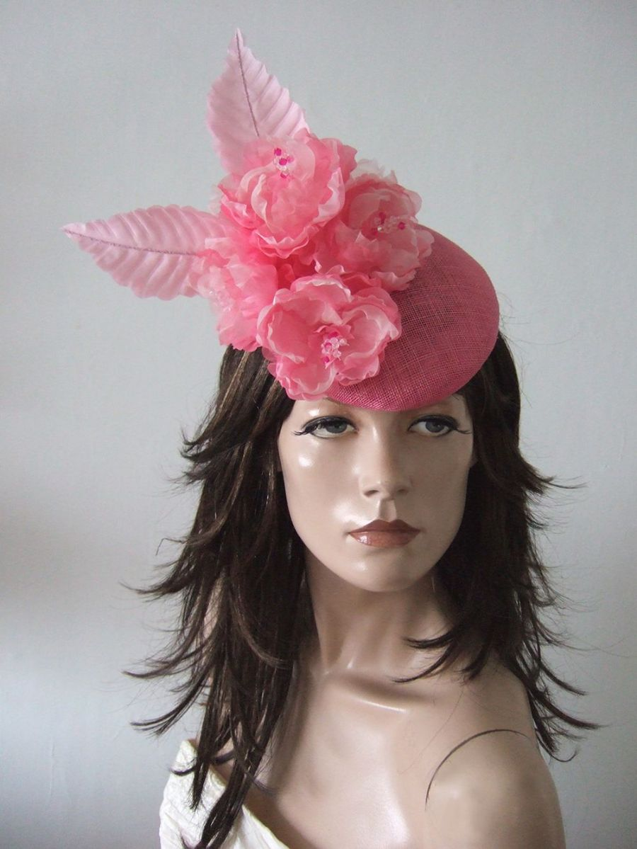 Baby Pink Fasciniator Hat Headpiece with Silk Flowers for the Races. Hats for Royal Ascot. Derby Hats. Mother of the Bride Hats.